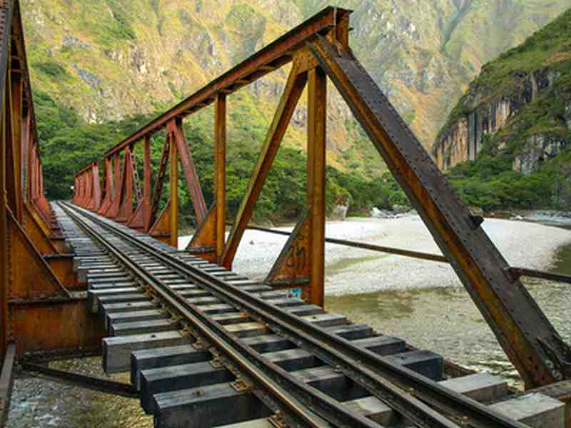 Iron railway bridge over Urubamba river near Machu Picchu
